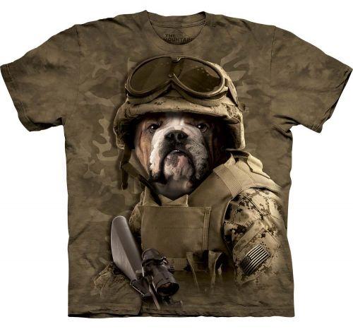Футболка «Combat Sam» с собакой воином с автоматом в очках