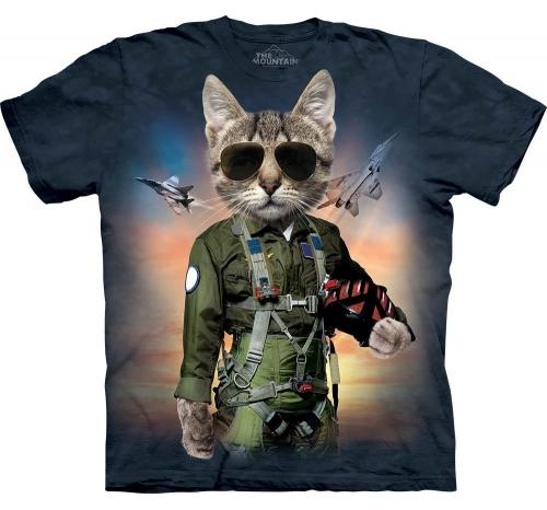 Футболка «Tom Cat» с котом лётчиком в очках и самолётом
