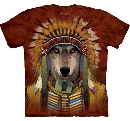 Футболка «Wolf Spirit Chief» с волком индейцем с венцом из перьев на голове