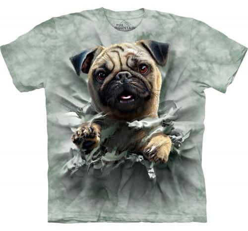 Футболка «Pug Breakthru» с собакой мопс, идущей на прорыв
