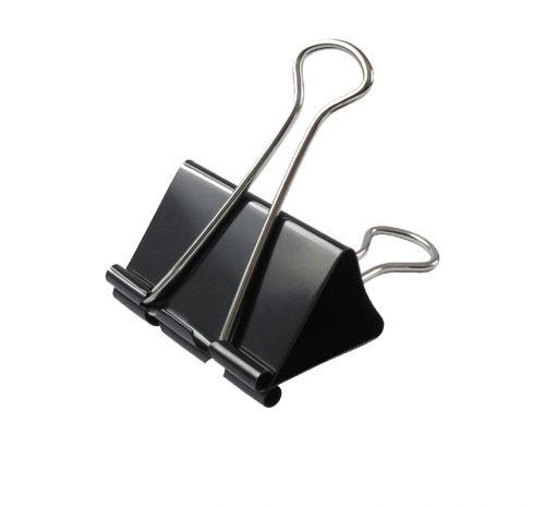 Комплект зажимов (биндеров) для бумаги и кожи, металл, 12 шт. в комп., размер 51/25/22 (мм)