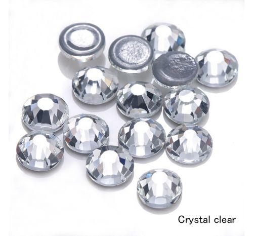 Премиальные стразы Flat Backs Hotfix (термостразы), 12 граней, цвет crystal, за 144 шт.