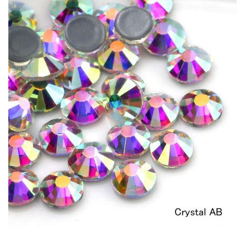 Премиальные стразы Flat Backs Hotfix (термостразы), 12 граней, цвет crystal AB