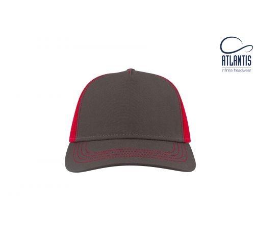 Бейсболка кепка Rapper Canvas цвет тёмно серый-красный
