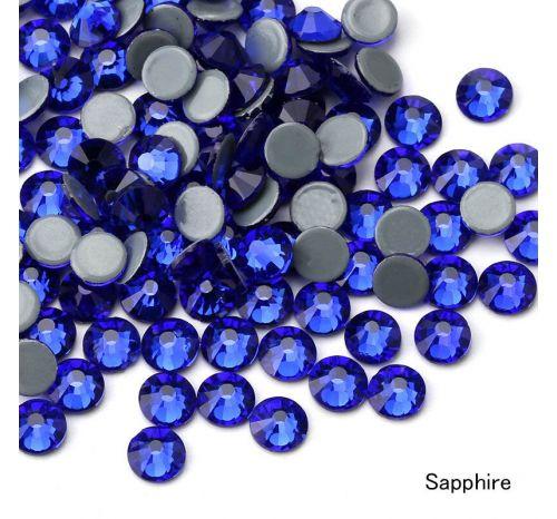 Премиальные стразы Flat Backs Hotfix (термостразы), 12 граней, цвет sapphire