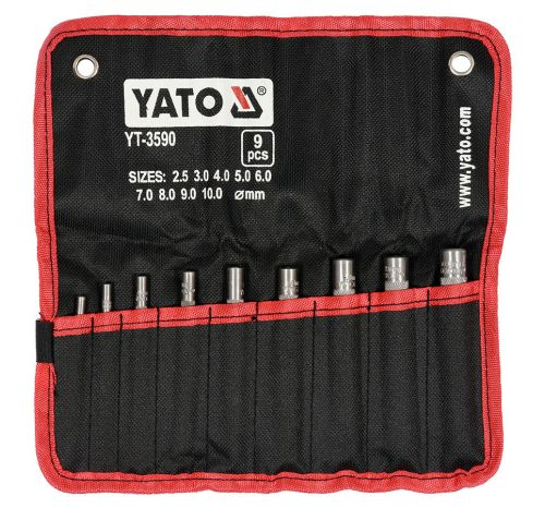 Набор круглых пробойников для кожи YT-3590, 9 элементов, Ø 2,5; 3; 4; 5; 6; 7; 8; 9; 10 мм