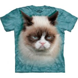 Футболка «Grumpy Cat» с серьёзной кошкой