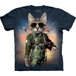 Футболка «Tom Cat» с котом военным лётчиком и самолётом