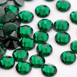 Премиальные стразы Flat Backs Hotfix (термостразы), 12 граней, цвет emerald, за 144 шт.